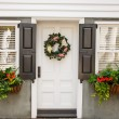 Stock Photo: Flower Boxes and Wreath on Nice Small Home