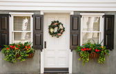Flower Boxes and Wreath on Nice Small Home — Stock Photo
