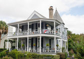 Traditional Grey Two Story Home — Stock Photo