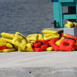 Stock Photo: Red and Yellow Life Vests on Concrete Pier