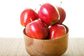 Red Apples in Wood Bowl with White Background — Stock Photo
