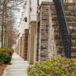 Sidewalk at Brick Townhomes — Stock Photo