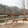 Riverside Picnic Bench — Stock Photo