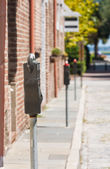 Line of Parking Meters — Stock Photo