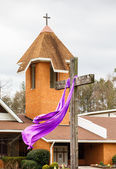Easter Cross and Church — Stock Photo