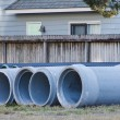 Concrete and Plastic Pipe on Site — Stock Photo