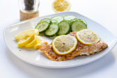 Baked Salmon with Sliced Lemons and Cucumbers — Stock Photo