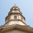 Brown Stone Steeple from Below - Stock Photo