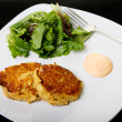 Two Crab Cakes in White Plate on Black — Stock Photo