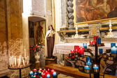 Red and Blue Candles in Eze Church — Stock Photo