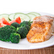 Baked Salmon and Broccoli Low Angle — Stock Photo