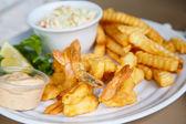 Fried Shrimp and Potatoes — Stock Photo
