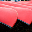 Ends of Red Canoes — Stock Photo