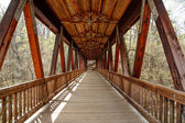 Wood Covered Bridge of Old Timbers — Stock Photo