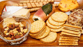Cheese Crackers and Nuts — Stock Photo