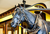 Statue of Horse by Old Train — Stock Photo