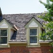 Stock Photo: Two Dormers on Brick Homes with Wood Shingles