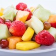 Stock Photo: White Plate of Cut Fruit