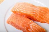 Two Atlantic Salmon Fillets Closeup — Stock Photo