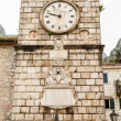 Clock on Old Wall in Kotor — Stock Photo