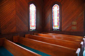Pews and Stained Glass in Church — Stock Photo