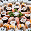 Tray of Fresh Sushi and California Rolls — Stock Photo