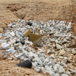 Stock Photo: Gravel Stones Around Overflow Drain