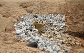 Gravel Stones Around Overflow Drain — Stock Photo