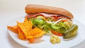 Sanduíche italiano sub com picles e tortilla chips — Fotografia Stock