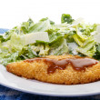 Barbecue Chicken Breast with Caesar Salad — Stock Photo