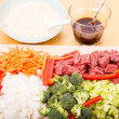 Beef Stir Fry Ingredients Horizontal — Stock Photo
