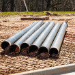 Cast Iron Pipes on Site — Stock Photo