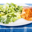 Caesar Salad with Baked Salmon — Stock Photo