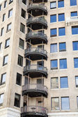 Round Black Iron Balconies — Stock Photo
