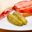 Closeup of Bacon and Tomato Sandwich with Dill Pickles — Stock Photo