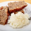 Meatloaf and Mashed Potatoes with Fork — Stock Photo