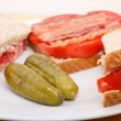 Dill Pickles on Plate with Sandwich — Stock Photo