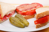 Dill Pickles on Plate with Sandwich — Foto Stock