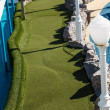Green Miniature Golf Course on Ship — Stock Photo
