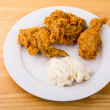 Plate of Fried Chicken with Mashed Potatoes — Stock Photo