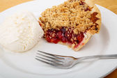 Cherry Pie with Ice Cream and Fork — Photo