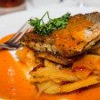 Broiled Trout and Potatoes — Stock Photo