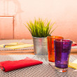 Purple and Orange Tumblers on Table — Stock Photo