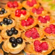 Raspberry Blueberry and Kiwi Tarts — Stock Photo
