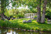 Benches in Grass Between Bridge and Pond — Stock Photo