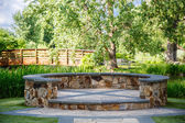 Stone Dais and Wood Bridge — Stock Photo