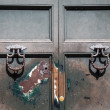 Stock Photo: Old Door with Knockers and Keyhole
