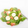 Spinach Salad with Eggs and Bacon — Stock Photo #38389965