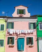 Blanchisserie sur plâtre rose à burano — Photo
