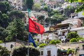 Flags Over Positano — Stock Photo